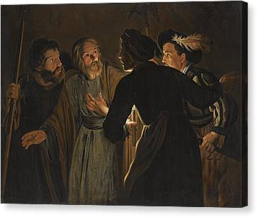 The Denial Of Saint Peter Canvas Print by Follower of Gerard Seghers