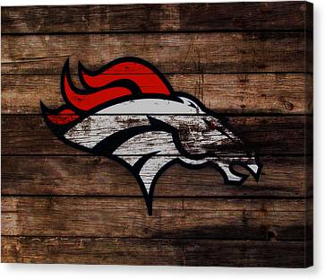 Wooden Bowl Canvas Print - The Denver Broncos 3a by Brian Reaves