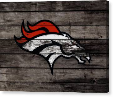 Wooden Bowl Canvas Print - The Denver Broncos 3c by Brian Reaves