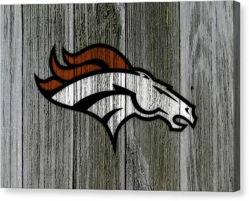 Wooden Bowl Canvas Print - The Denver Broncos C2 by Brian Reaves