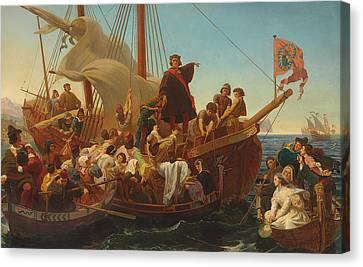 Seafarer Canvas Print - The Departure Of Columbus From Palos by Emanuel Gottlieb Leutze