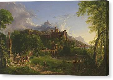 Medieval Temple Canvas Print - The Departure by Thomas Cole