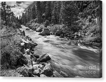 The Deschutes River In Black And White Canvas Print by Twenty Two North Photography