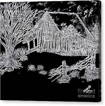Old Cabins Canvas Print - The Deserted Cabin At Night by Debra Lynch