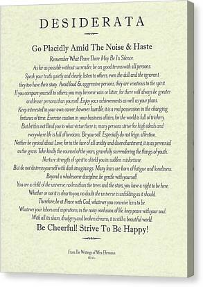 The Universe Canvas Print - The Desiderata Poster By Max Ehrmann On Antique Parchment by Desiderata Gallery