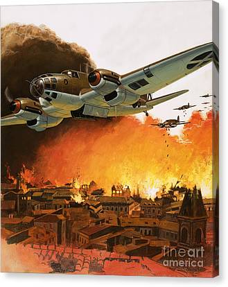 The Destruction Of Guernica During The Spanish Civil War Canvas Print by English School
