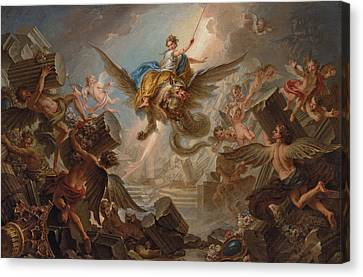 Thunder Canvas Print - The Destruction Of The Palace Of Armida by Charles Antoine Coypel