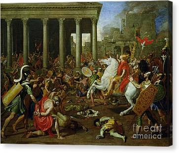 The Destruction Of The Temples In Jerusalem By Titus Canvas Print by Nicolas Poussin