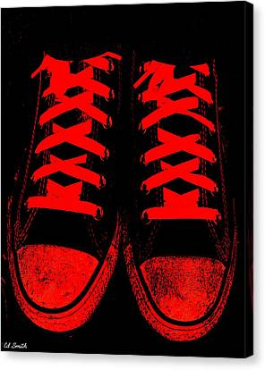 Tennis Shoe Canvas Print - The Devil Wears Converse by Ed Smith