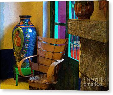 The Dining Room Corner In Frida Kahlo's House Canvas Print by John  Kolenberg