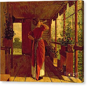 The Dinner Horn Canvas Print by Winslow Homer