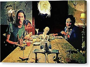 Canvas Print featuring the painting The Dinner Scene - Texas Chainsaw by Taylan Apukovska