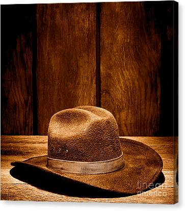 The Dirty Brown Hat - Sepia Canvas Print by Olivier Le Queinec