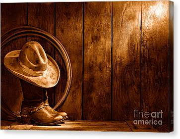 The Dirty Hat - Sepia Canvas Print by Olivier Le Queinec