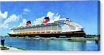 Canvas Print featuring the painting The Disney Dream In Nassau by Sandy MacGowan