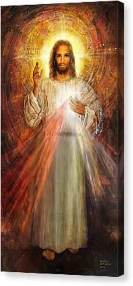 The Divine Mercy,  Jesus I Trust In You - 2 Canvas Print by Terezia Sedlakova Wutzay