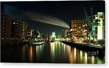 The Docks Of Hamburg By Night Canvas Print by Rob Hawkins