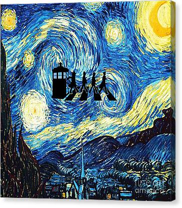The Doctor Flying With Starry Night Canvas Print by Vika Chan