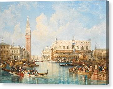 The Doge's Palace And Piazetta From The Lagoon, Venice Canvas Print by William Wyld