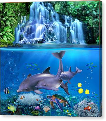 The Dolphin Family Canvas Print