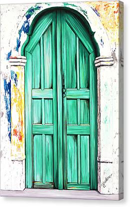 The Doors Of Santorini - Prints Of Original Oil Painting - Teal Canvas Print by Mary Grden's Baywood Gallery
