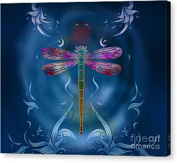 Graphic Digital Art Canvas Print - The Dragonfly Effect by Peter Awax