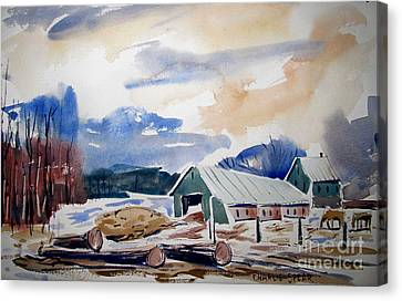 The Draught Horses At The Sawmill Canvas Print by Charlie Spear