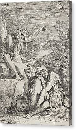 White River Scene Canvas Print - The Dream Of Aeneas by Salvator Rosa