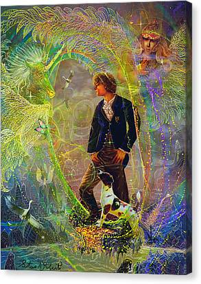 Canvas Print featuring the painting The Dreamer-angel Tarot Card by Steve Roberts