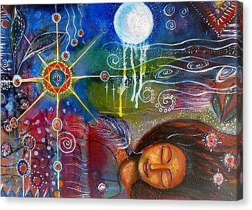 Canvas Print featuring the painting The Dreamer by Prerna Poojara