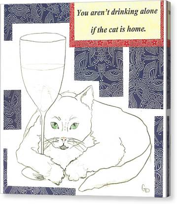 Red Cat Wine Canvas Print - The Drinking Cat by Georgia Donovan