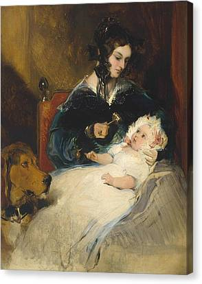 The Duchess Of Abercorn And Child Canvas Print by Edwin Henry