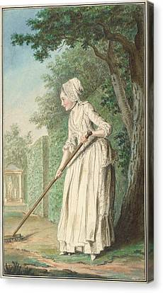 The Duchess Of Chaulnes As A Gardener In An Allee Canvas Print by Louis Carrogis de Carmontelle