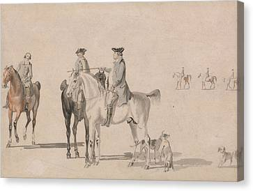 The Duke Of Cumberland With A Gentleman And A Groom, All Mounted, And Dogs Canvas Print by Paul Sandby
