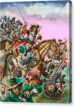 The Duke Of Monmouth At The Battle Of Sedgemoor Canvas Print by Peter Jackson