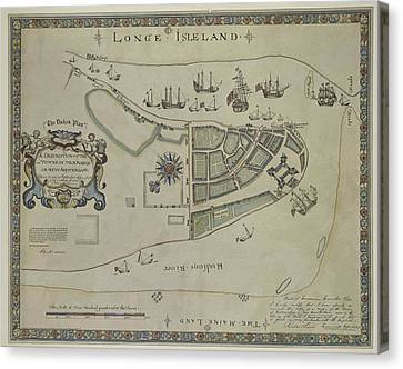 Canvas Print featuring the photograph The Dukes Plan A Description Of The Town Of Mannados Or New Amsterdam 1664 by Duncan Pearson