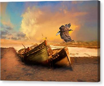 Orange Canvas Print - The Eagle And The Boat by Georgiana Romanovna