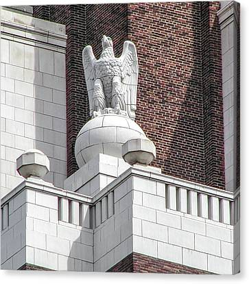 Canvas Print featuring the photograph The Eagle On The United States Custom House Philadelphia Pennsyl by Bill Cannon