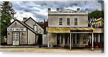 Canvas Print featuring the photograph The Eagle Theater And Skalet Family Jewelers Old Sacramento by Thom Zehrfeld