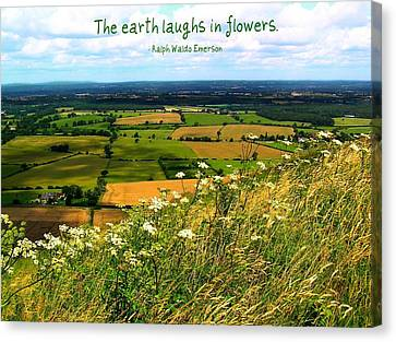 The Earth Laughs In Flowers Canvas Print by Jen White