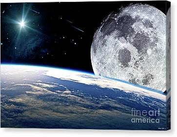 The Earth, Moon And The Stars Canvas Print by Thomas Pollart