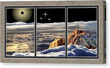 The Eclipse At Calvary Split Image Canvas Print by Ron Chambers