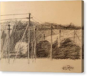 The Edge Of The Village Canvas Print by Raimonda Jatkeviciute-Kasparaviciene