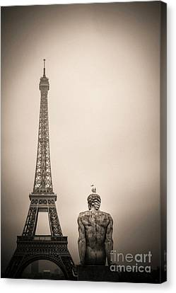 The Eiffel Tower And The L'homme The Man Statue By Pierre Traverse Paris. France. Europe. Canvas Print