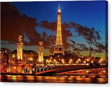 The Eiffel Tower At Night, Paris, France Canvas Print