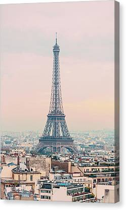 Eifel Canvas Print - The Eiffel Tower At Sunset From The L'arc De Triomph Paris France by Maggie McCall
