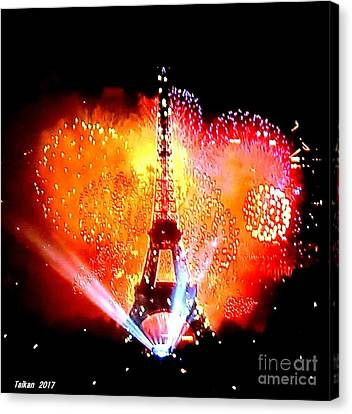 The Eiffel Tower On July 14 By Taikan Canvas Print