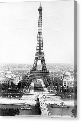 The Eiffel Tower Canvas Print - The Eiffel Tower With A View Of Paris by French School