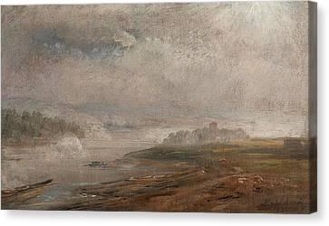 The Elbe On A Foggy Morning Canvas Print by Johan Christian Dahl