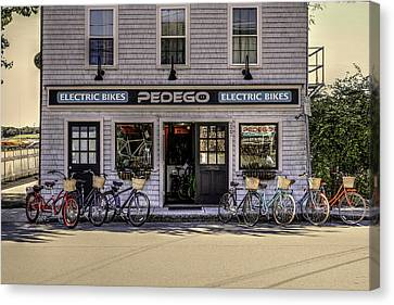 Canvas Print featuring the photograph The Electric Bike Shop Bristol Ri by Tom Prendergast